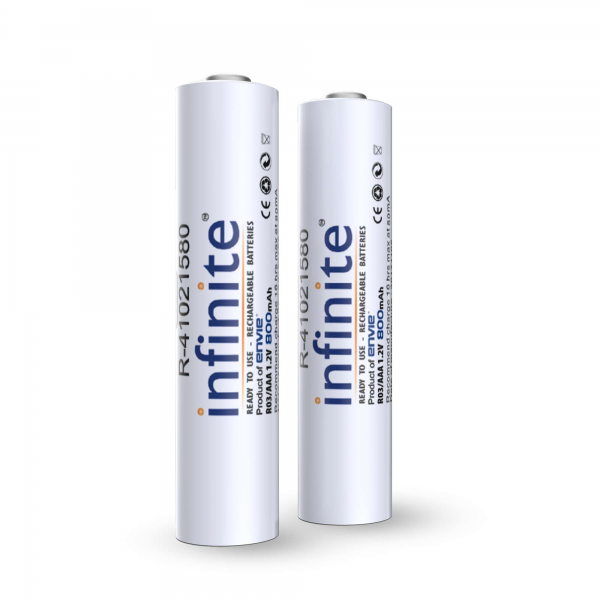 Envie 800 mAh (AAA) Rechargeable Batteries - Pack of 2 Ni - MH Batteries