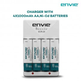 Combo - Envie Battery Charger and AA Ni-Cd Reusable Batteries (Pack of 4 AA Batteries)