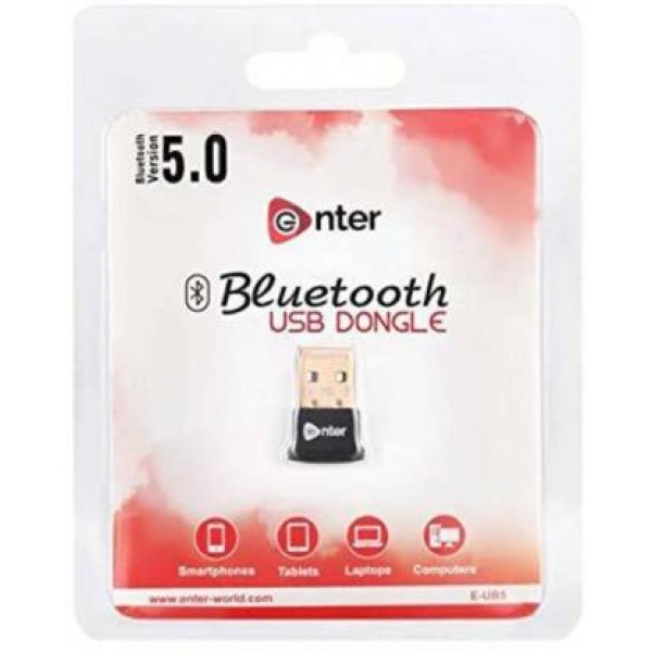 Enter-Go USB Bluetooth Adapter/Dongle (V5.0) for Laptops, Smartphones, Tablets and Computers with Up to 20 mtr. Range - E-UB5N