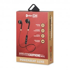 EnterGo - Powerbeat Luxe - Bluetooth Stereo Earphone/Neckband with Up to 8 Hours of Playback Time