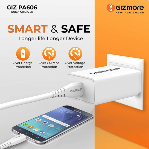 Gizmore GIZPA606 - 3.0 A - Quick Charge Type C Charger set (18W) for Smart Phones (6 months warranty)