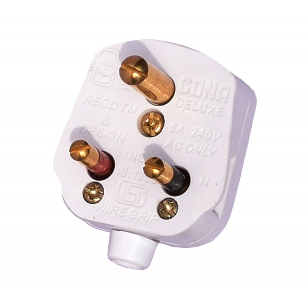 Cona (6 A + 16 A) 3 Pin Plugs (Set of 2) for Large and Small Home & Kitchen Appliances