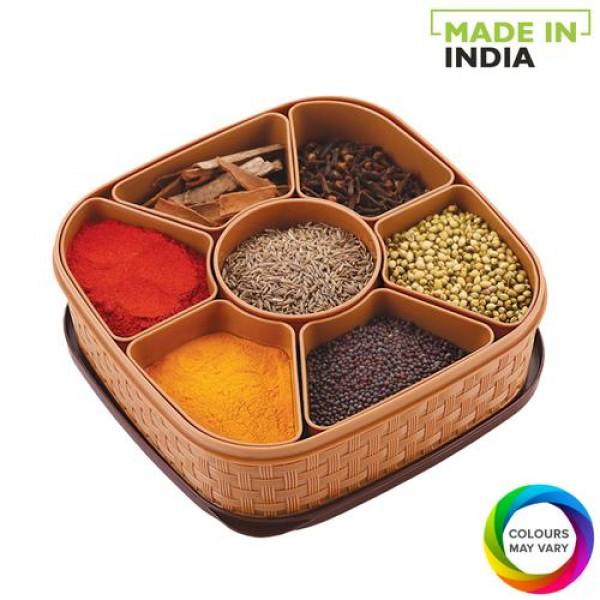 Woven Multipurpose Spice/Masala, Dry Fruits and Rangoli Colors Storage Box for Home and Kitchen Use