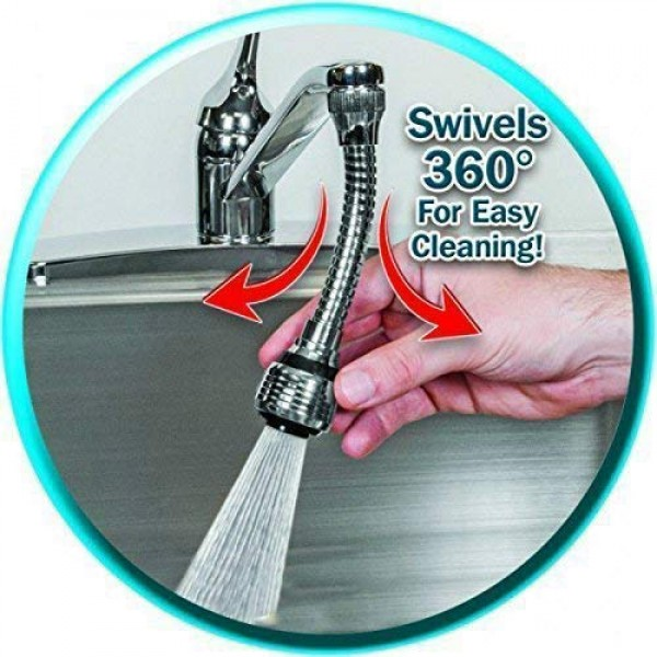 Flexible Faucet - Tap Adapter and Water Sprayer with 6 Inch Flexible Hose and 360 Degree Swivel