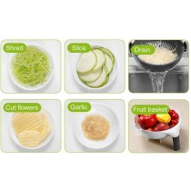 Wet Basket Vegetable Cutter - Multifunction Vegetable Cutter and Slicer with Rotatable Drain Basket