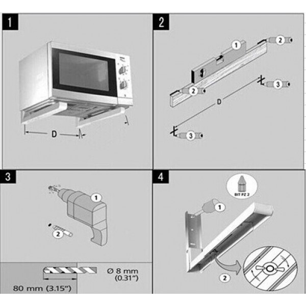 Wall Mount Stand/Bracket for Microwave Oven, OTG with Adjustable Length/Size Mechanism